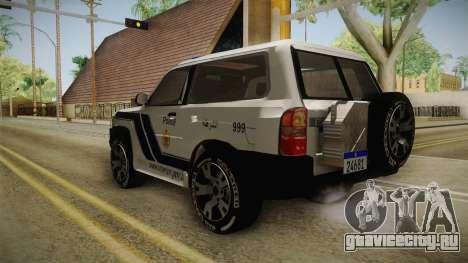 Nissan Patrol Y61 Police для GTA San Andreas вид сзади слева
