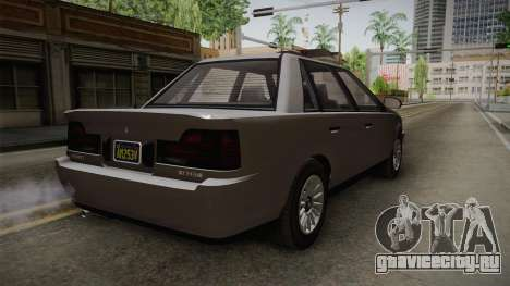 GTA 5 Vulcar Ingot Sedan IVF для GTA San Andreas вид сзади слева