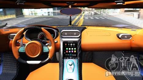 Koenigsegg Regera 2015 для GTA San Andreas вид изнутри
