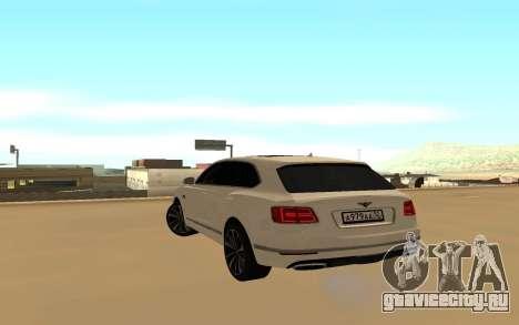 Bentley Bentyaga для GTA San Andreas вид сзади слева