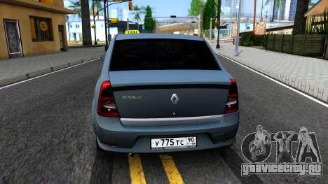 Renault Logan Taxi для GTA San Andreas вид сзади слева
