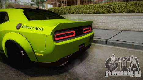 Dodge Challenger Hellcat Liberty Walk LB Perform для GTA San Andreas вид сбоку
