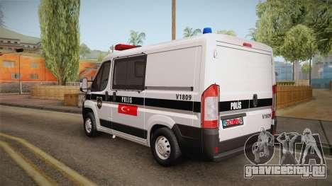 Fiat Ducato Police для GTA San Andreas вид сзади слева