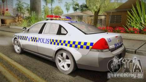 Chevrolet Impala Police Malaysia для GTA San Andreas вид слева