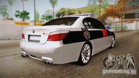 BMW M5 E60 Turkish Police для GTA San Andreas вид сзади слева