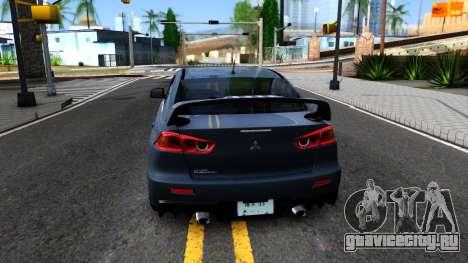 Mitsubishi Lancer X Evolution для GTA San Andreas вид сзади слева
