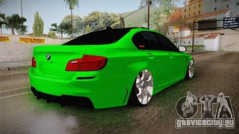 BMW M5 F10 Hulk для GTA San Andreas вид сзади слева