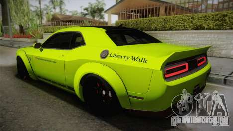 Dodge Challenger Hellcat Liberty Walk LB Perform для GTA San Andreas вид слева