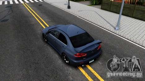 Mitsubishi Lancer X Evolution для GTA San Andreas вид сзади