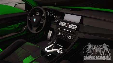 BMW M5 F10 Hulk для GTA San Andreas вид изнутри