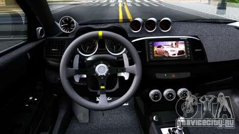 Mitsubishi Lancer X Evolution для GTA San Andreas вид изнутри
