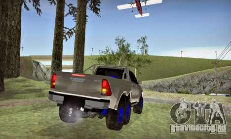 Toyota Hilux Arctic Trucks 6x6 для GTA San Andreas вид изнутри