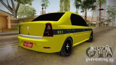 Renault Logan Taxi of Rio de Janeiro для GTA San Andreas вид сзади слева