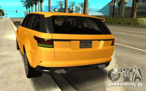 Land Rover Range Rover Sport Supercharged для GTA San Andreas вид сзади слева