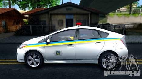 Toyota Prius Ukraine Police для GTA San Andreas вид слева