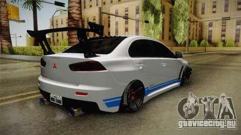 Mitsubishi Lancer EvoStreet PRO для GTA San Andreas вид сзади слева