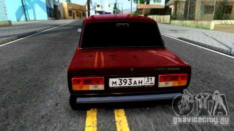 ВАЗ 2107 для GTA San Andreas вид сзади слева
