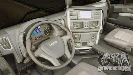 Iveco Stralis Hi-Way 560 E6 6x2 Timber v3.0 для GTA San Andreas вид изнутри