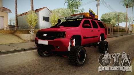Chevrolet Tahoe Semi Offroad VZLA Edition для GTA San Andreas вид сзади слева