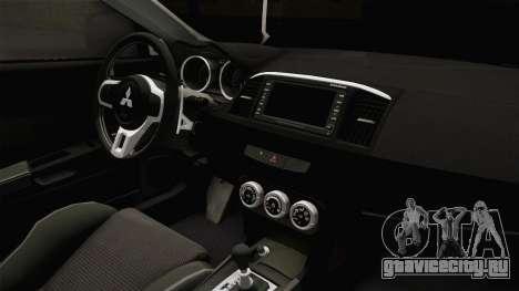 Mitsubishi Lancer EvoStreet PRO для GTA San Andreas вид изнутри