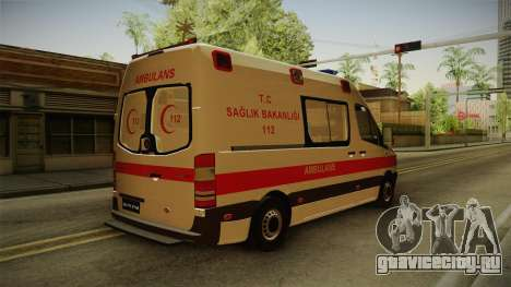 Mercedes-Benz Sprinter Turkish Ambulance для GTA San Andreas вид сзади слева