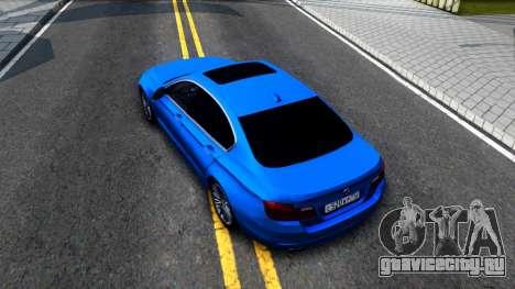 BMW 520i F10 для GTA San Andreas вид сзади