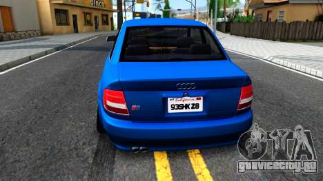 Audi S4 Dark Shark для GTA San Andreas вид сзади слева