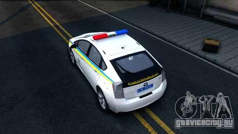 Toyota Prius Ukraine Police для GTA San Andreas вид сзади