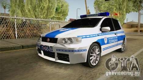 Fiat Punto Саобраћајна Полиција для GTA San Andreas вид сзади слева