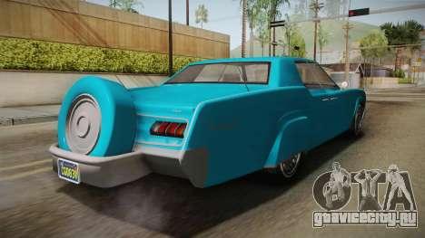 GTA 5 Albany Virgo Continental IVF для GTA San Andreas вид сзади слева