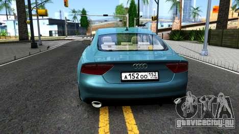 Audi RS7 Sportback для GTA San Andreas вид сзади слева