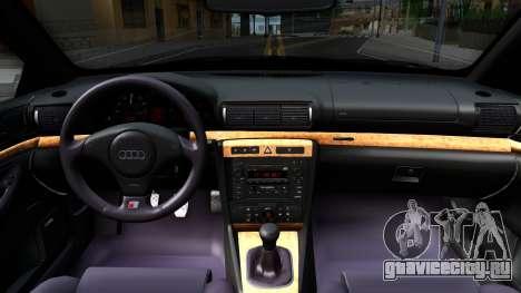 Audi S4 Dark Shark для GTA San Andreas вид изнутри