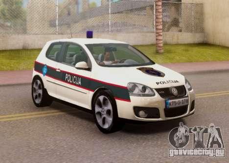 Golf V BIH Police Car V2 (Single Siren) для GTA San Andreas
