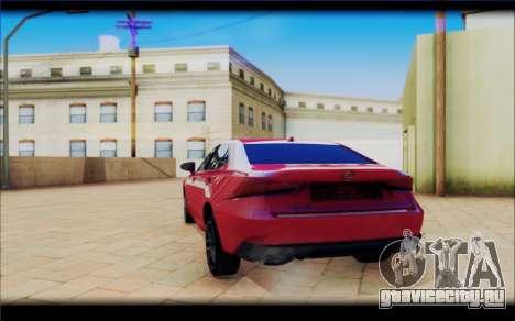 Lexus IS F 2017 для GTA San Andreas вид сзади