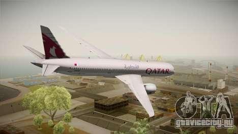 Boeing 787 Qatar Airways для GTA San Andreas вид слева
