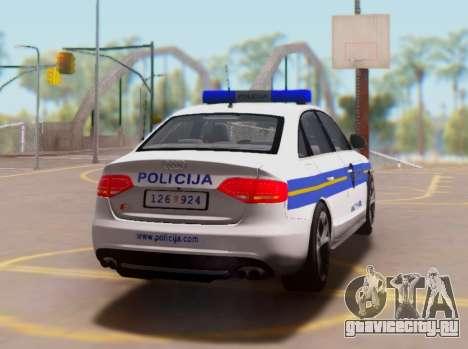 Audi S4 Croatian Police Car для GTA San Andreas вид справа