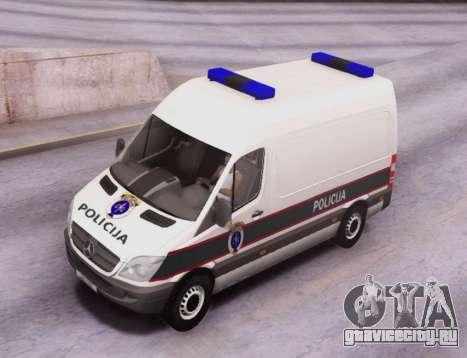Mercedes-Benz Sprinter BIH Police Van для GTA San Andreas вид изнутри
