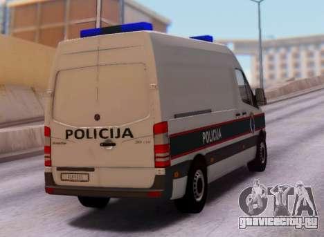 Mercedes-Benz Sprinter BIH Police Van для GTA San Andreas вид справа