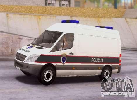 Mercedes-Benz Sprinter BIH Police Van для GTA San Andreas вид слева
