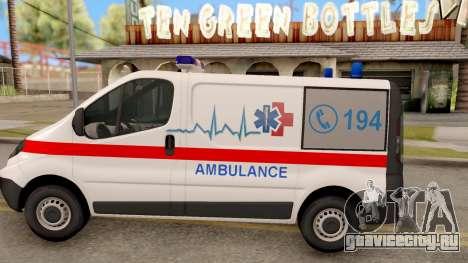 Opel Vivaro Serbian Ambulance для GTA San Andreas вид слева