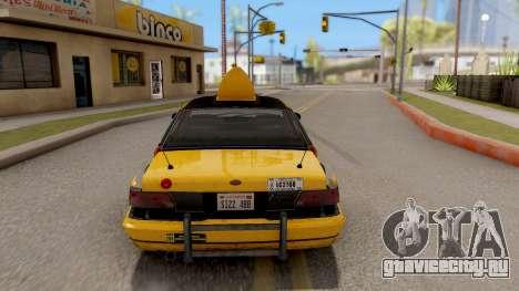 GTA IV Taxi для GTA San Andreas вид сзади слева