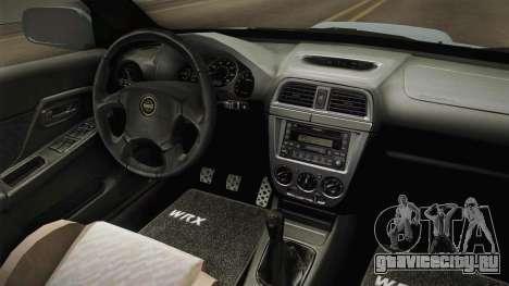 Subaru Impreza WRX Tunable для GTA San Andreas вид изнутри