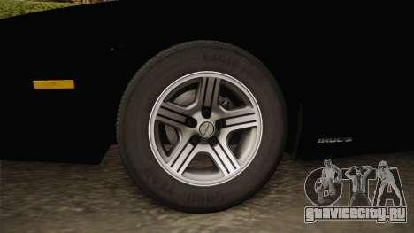 Chevrolet Camaro IROC-Z 1990 1.1.0 IVF для GTA San Andreas вид сзади