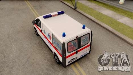 Opel Vivaro Serbian Ambulance для GTA San Andreas вид сзади