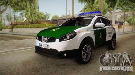 Nissan Qashqai Guatdia Civil Spanish для GTA San Andreas вид сзади слева