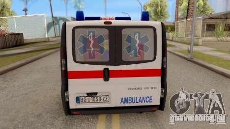 Opel Vivaro Serbian Ambulance для GTA San Andreas вид сзади слева