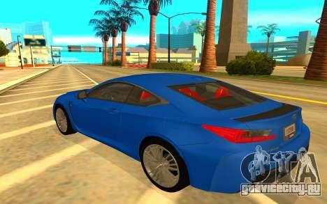 Lexus RC F для GTA San Andreas вид сзади слева