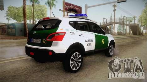 Nissan Qashqai Guatdia Civil Spanish для GTA San Andreas вид справа