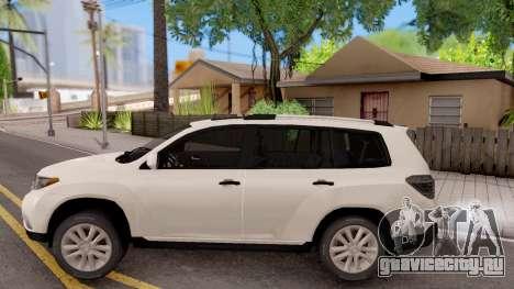 Toyota Highlander для GTA San Andreas вид слева