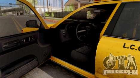 GTA IV Taxi для GTA San Andreas вид изнутри